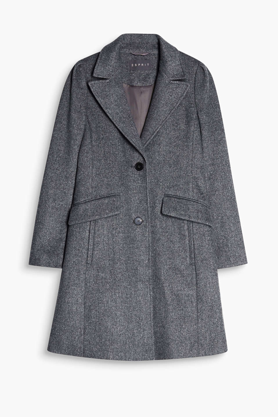 Modern business chic: fitted blazer coat in a finely striped wool blend with puff sleeves and a wide lapel