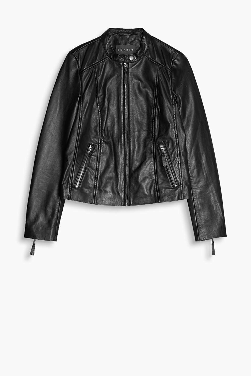 Short biker jacket with a stand-up collar and zips, 100% leather