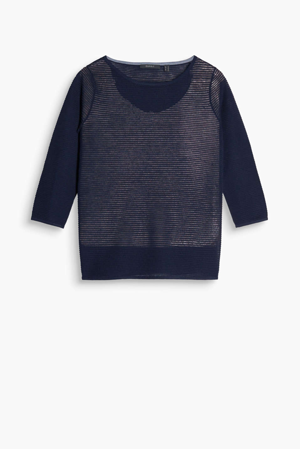 Semi-sheer ribbed jumper with a boxy cut and fashionable three-quarter length sleeves