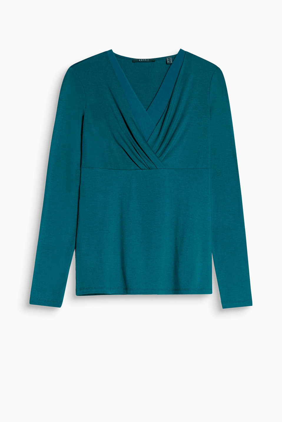 Feminine stretch long sleeve top with a draped effect and chiffon details