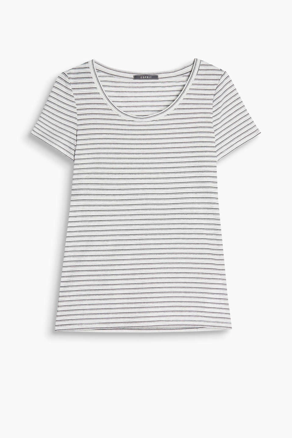 Round neck T-shirt with shimmering stripes