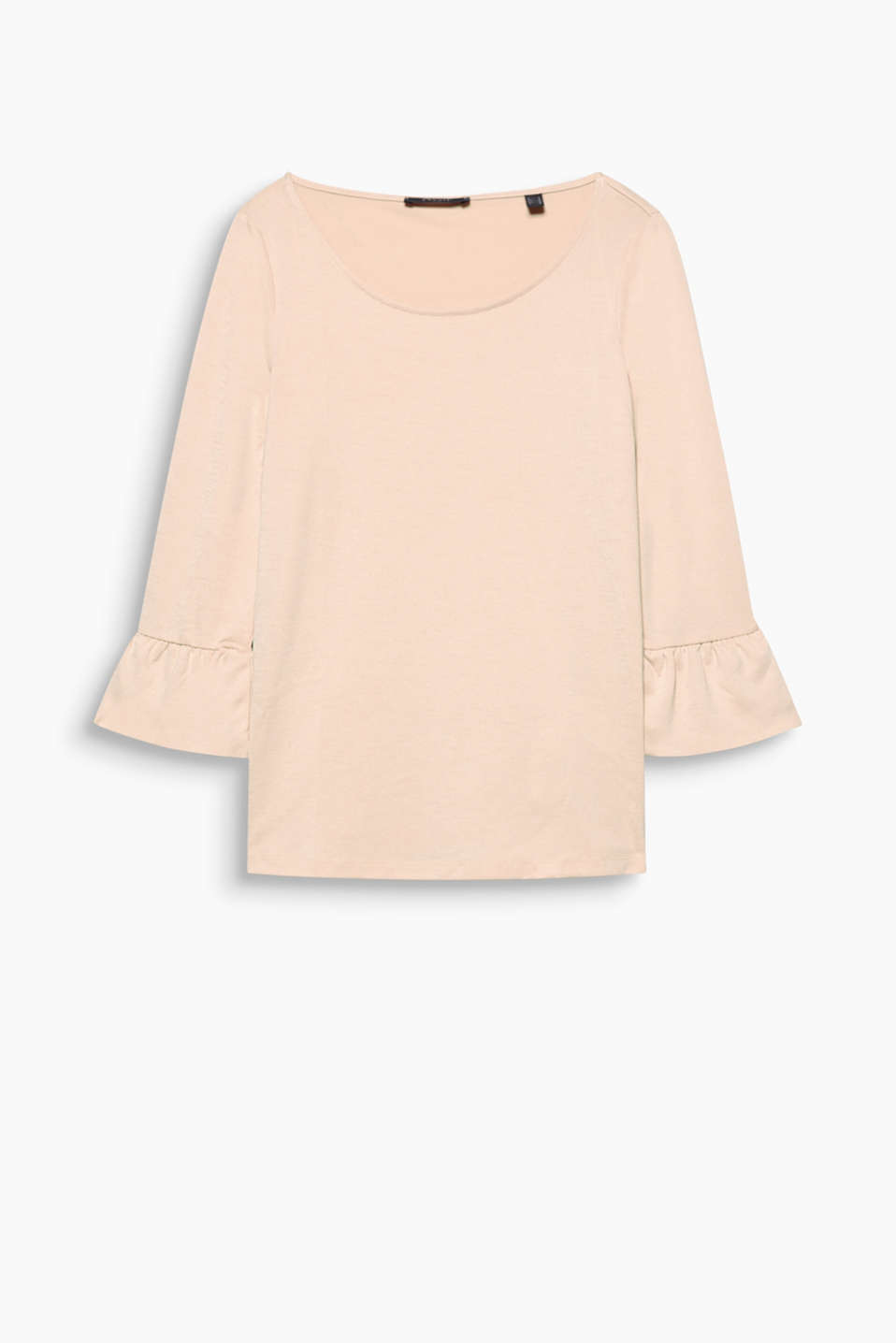 Lightweight piqué top with frilled sleeves and a generous neckline