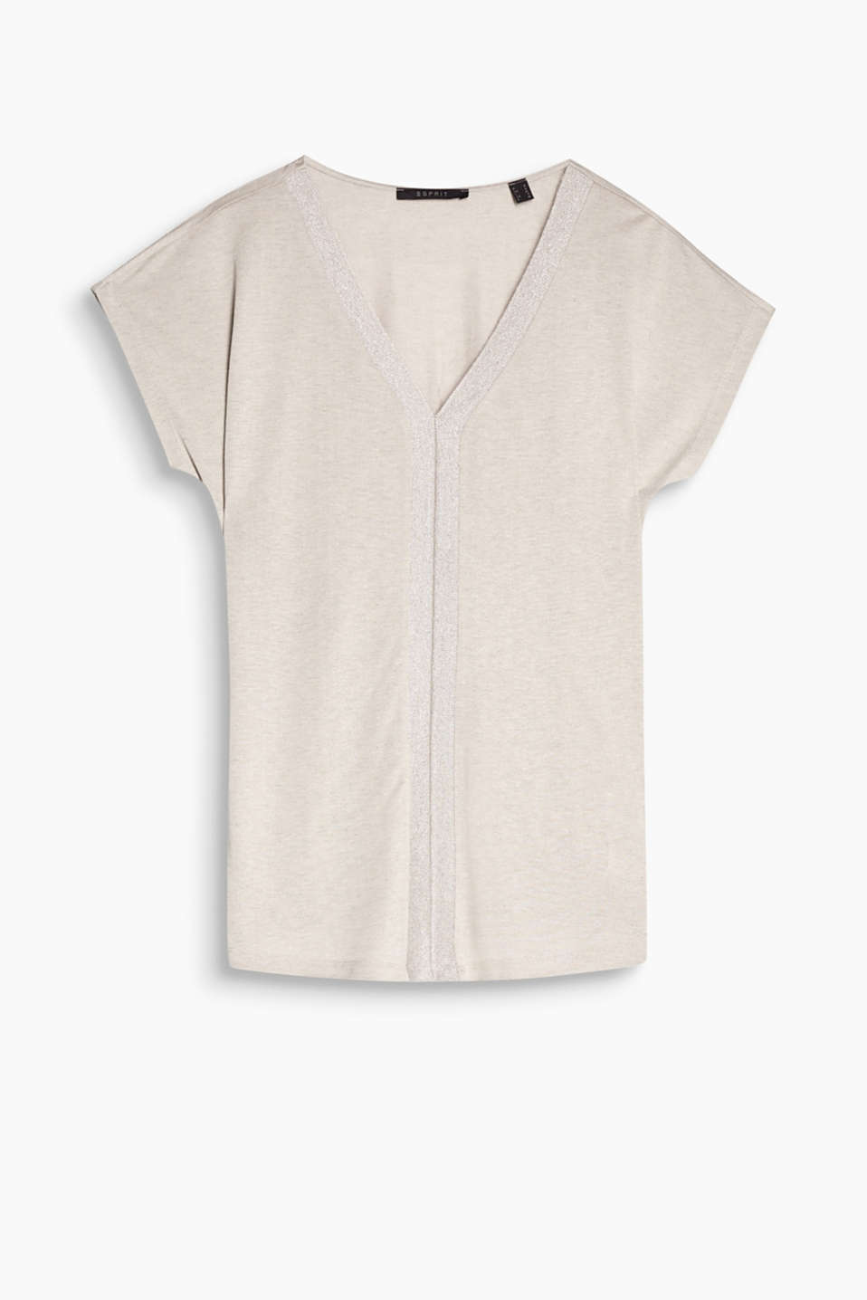 Flowing V-neck top with ribbed lurex trims