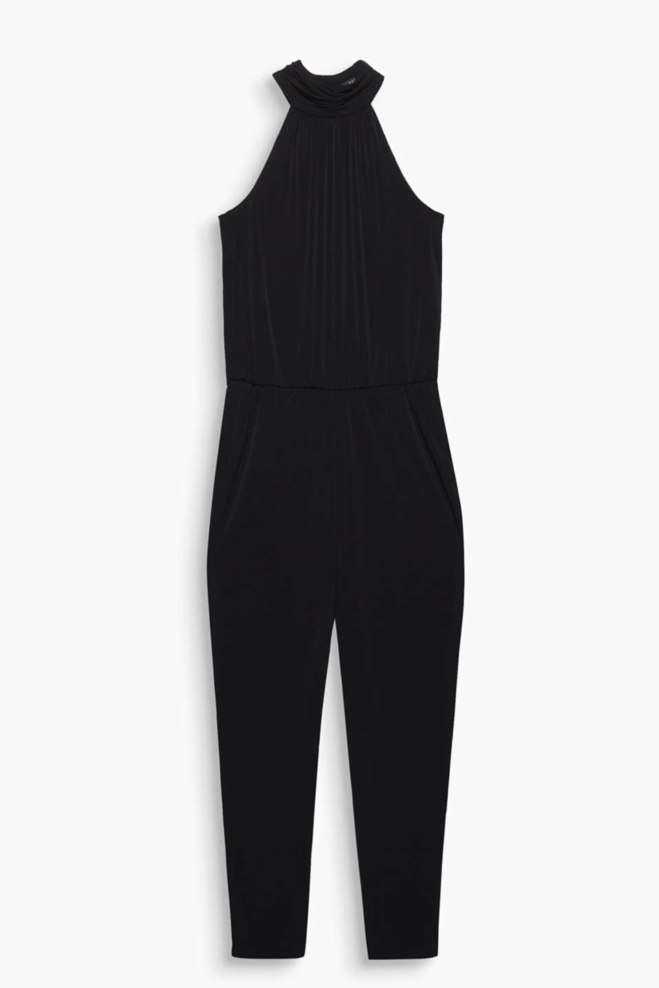 Stylish, stretch jersey jumpsuit with cut-away shoulders and a tie-around belt