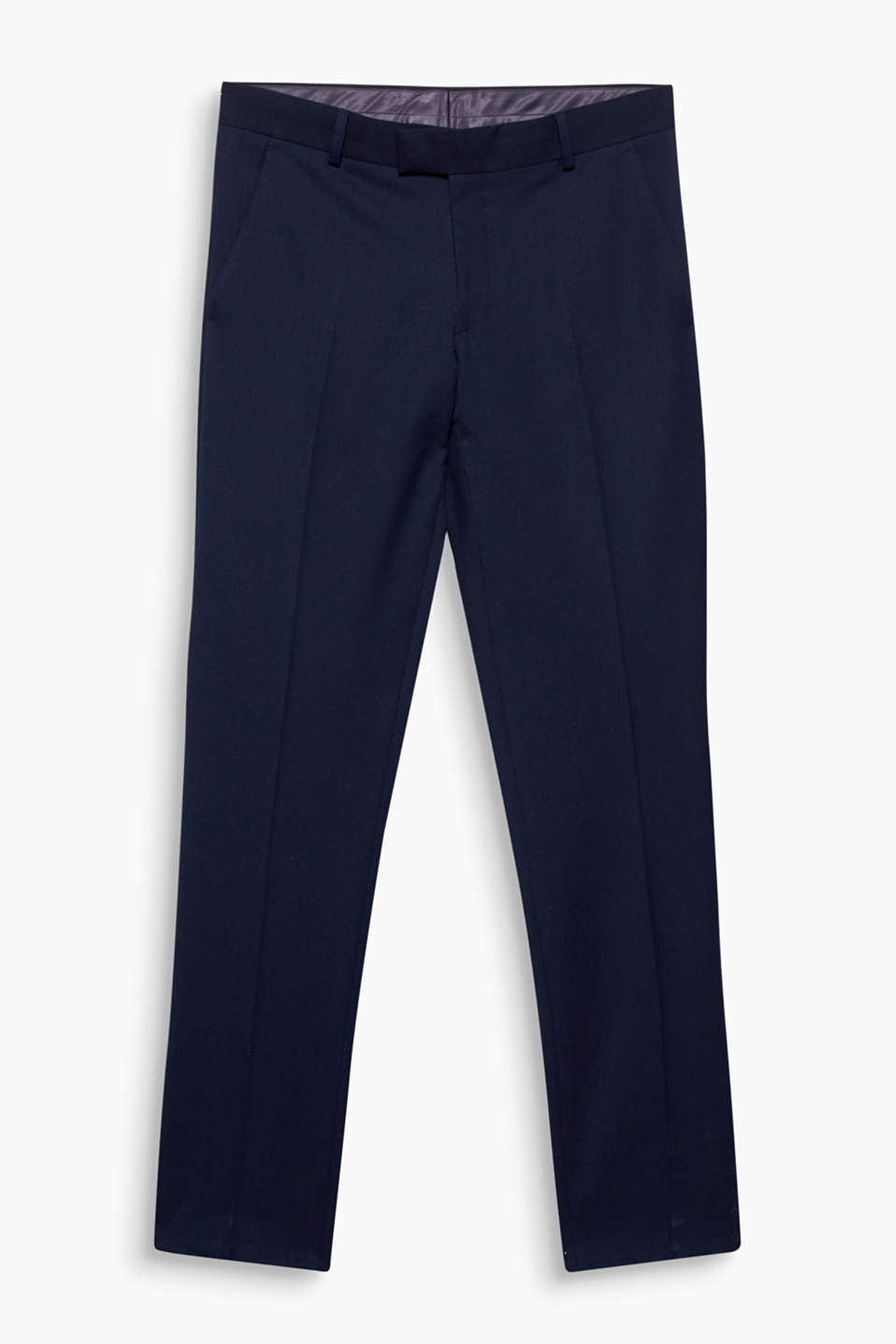 Suit trousers with a fine woven texture, made of lightweight blended fabric with a percentage of stretch