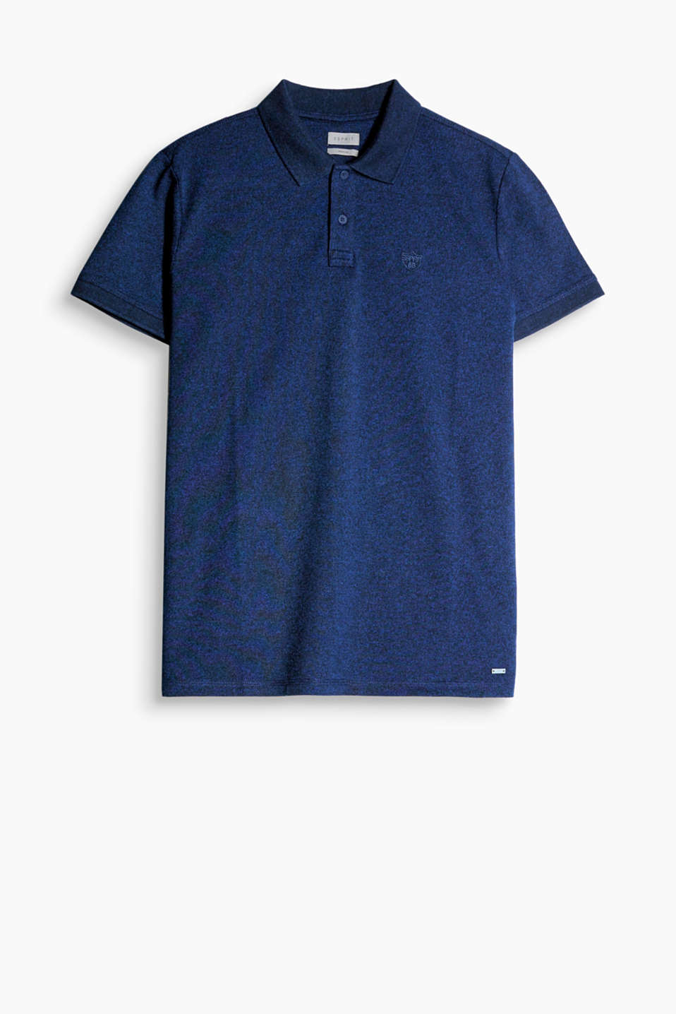 Lightweight blended cotton piqué polo shirt in a fashionable melange finish