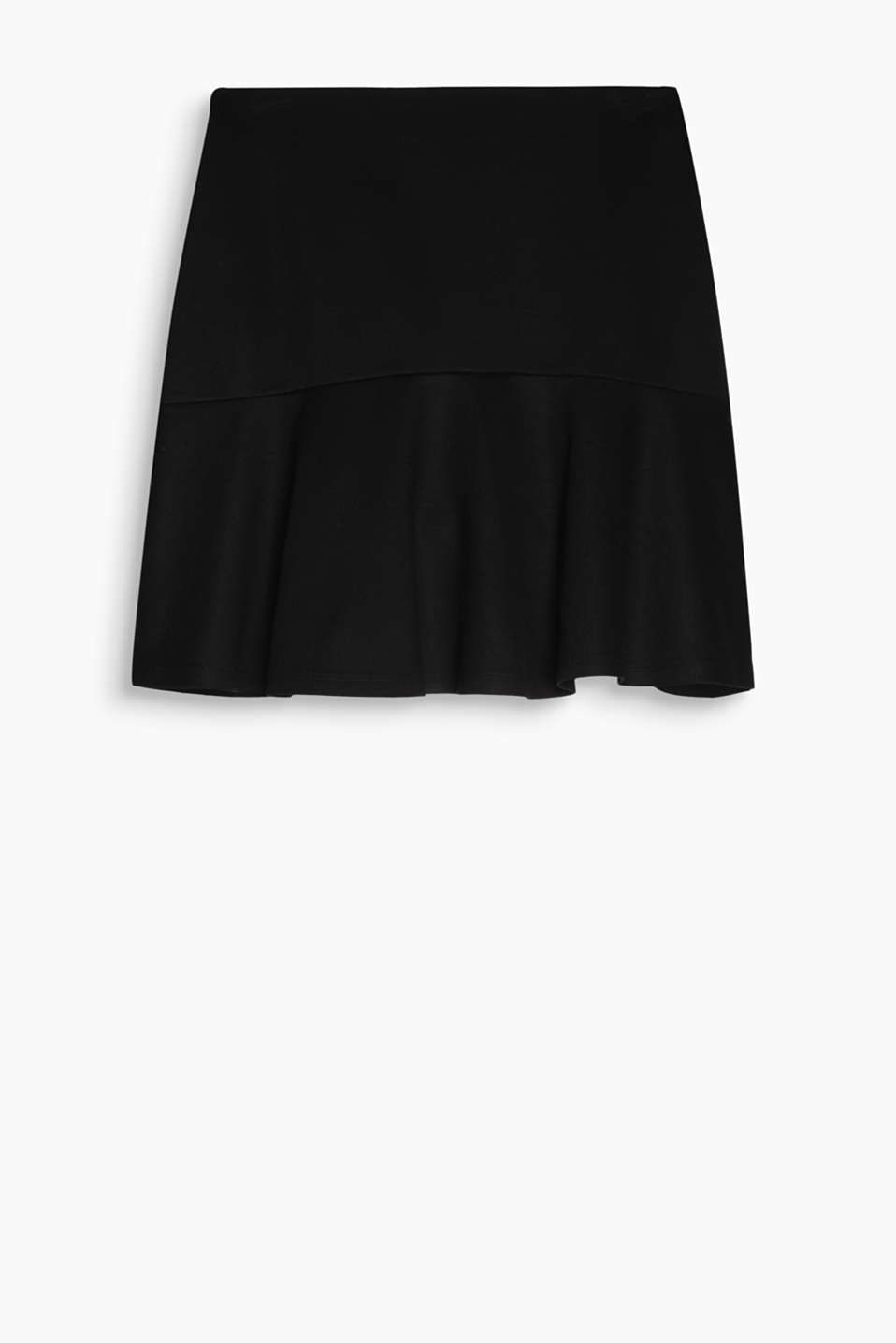 Smart, chic godet skirt in stretch jersey with an elasticated waistband