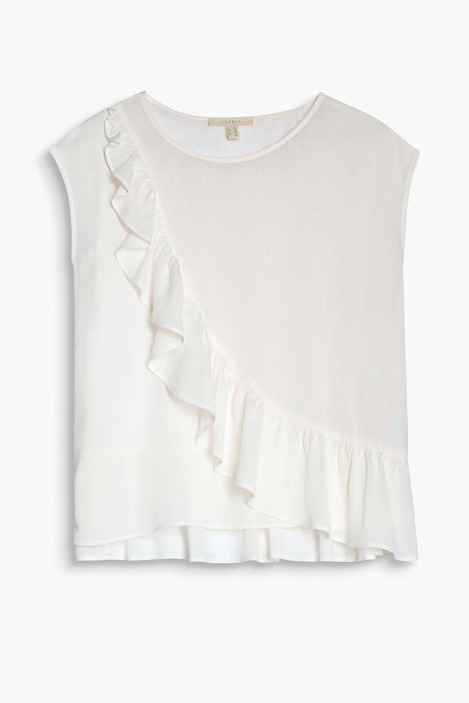 Boxy blouse in flowing crêpe with a flounce