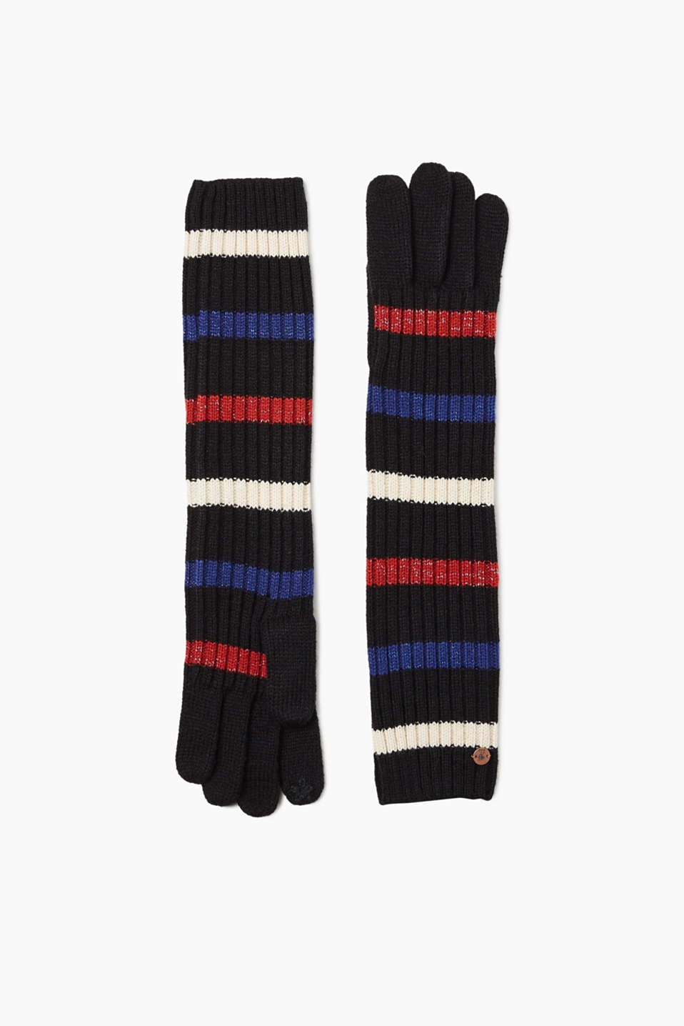 These touchscreen knitted gloves feature lurex stripes and are functional!