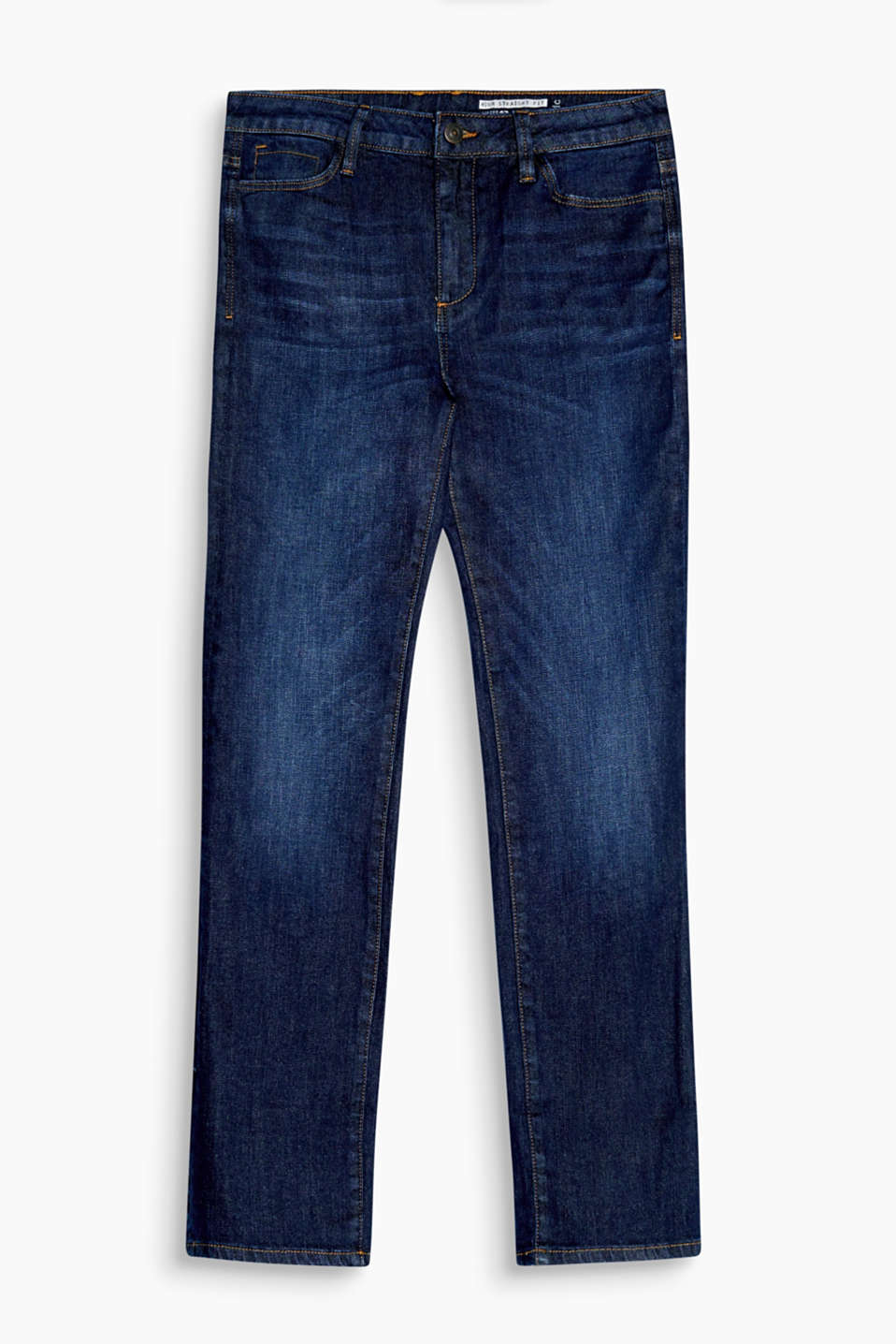 Casual and cool, relaxed high-waisted jeans with flexible hem turn-ups
