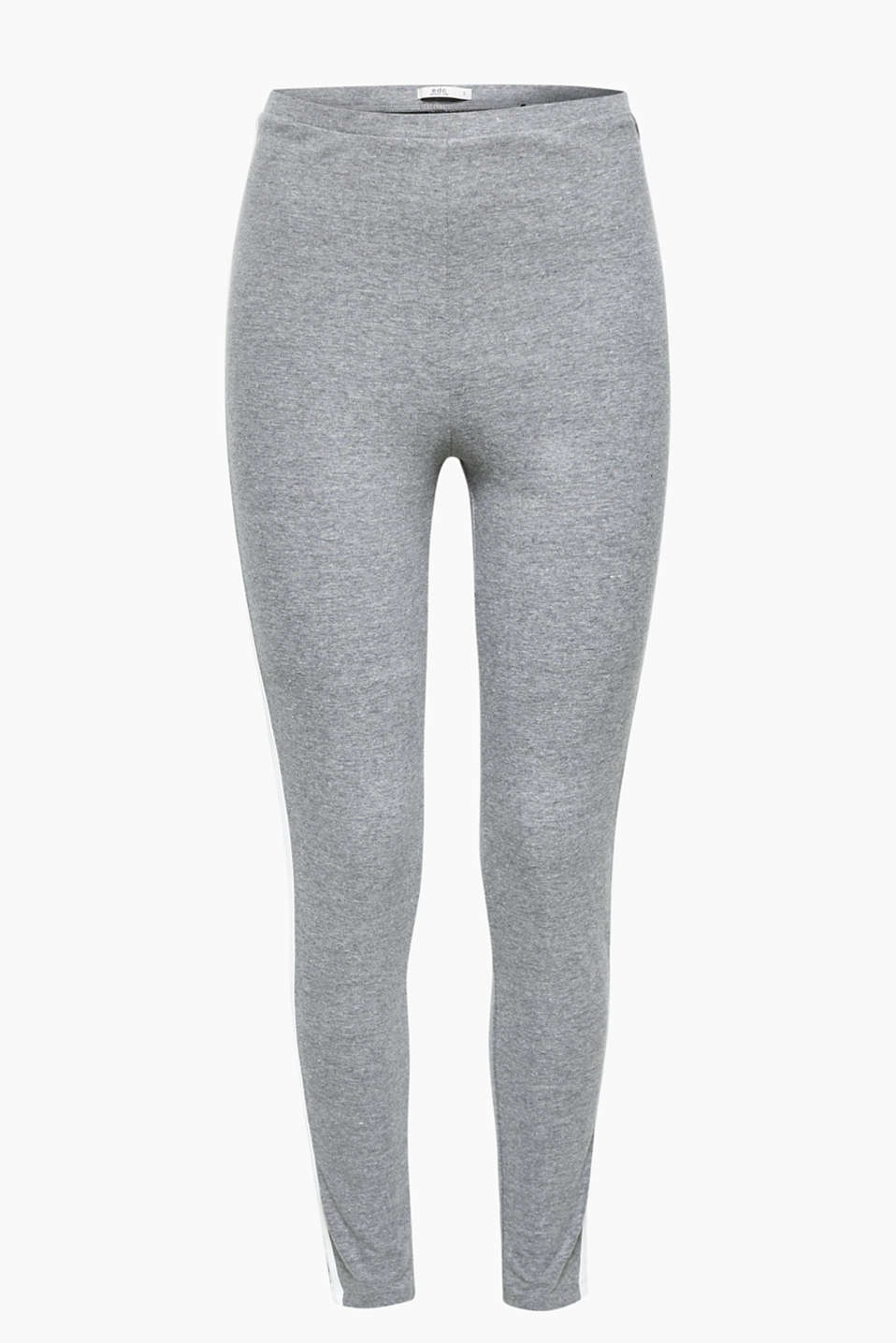 Comfy style with a cool twist: grey melange leggings with side stripes, in blended cotton, high percentage of stretch
