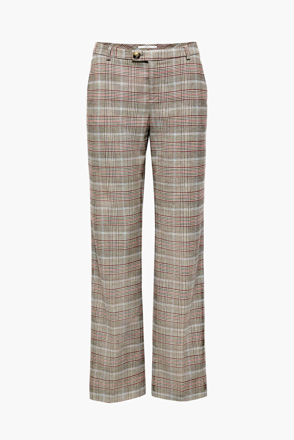 These checked, waist-pleat trousers with soft woolly touch are the ideal companion for smart day looks.