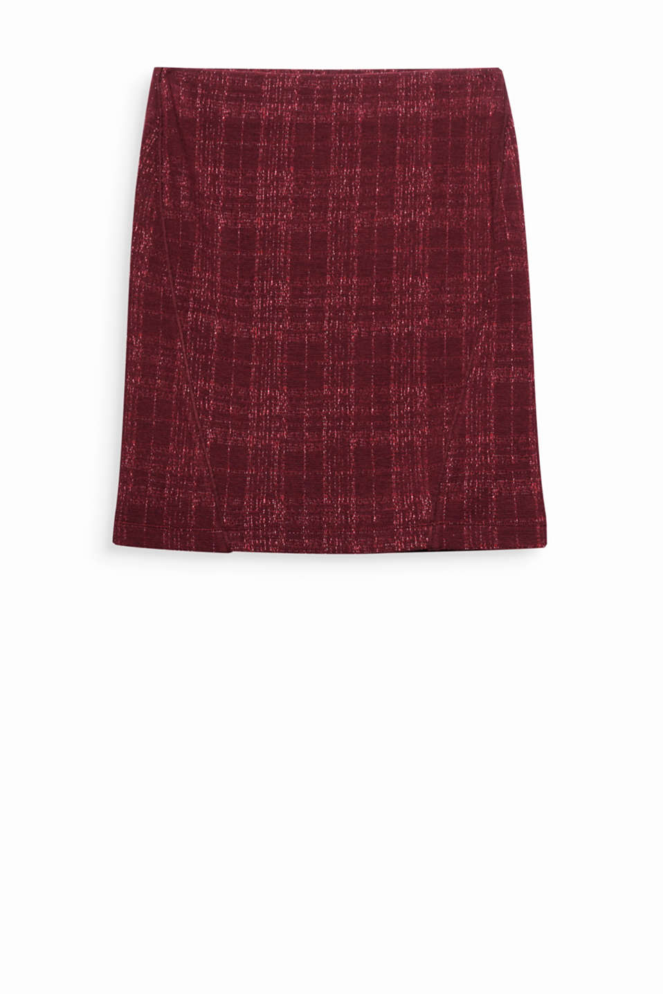 Stretch jersey pencil skirt with a chic, textured check pattern and concealed, elasticated waistband