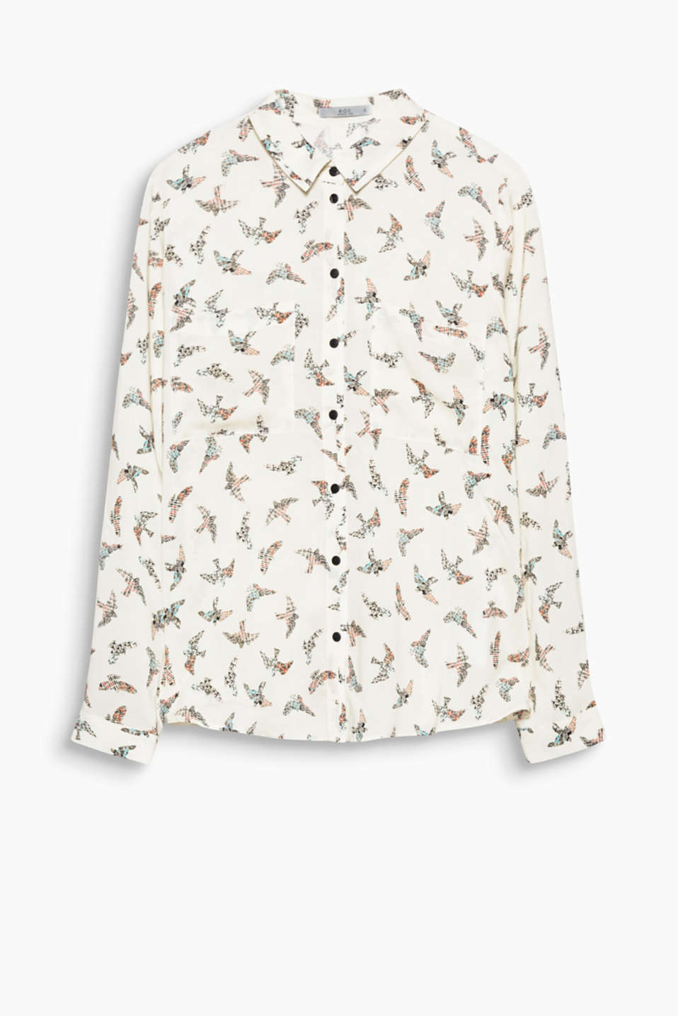 An eye-catching piece for so many looks: soft shirt blouse with a graphic bird print