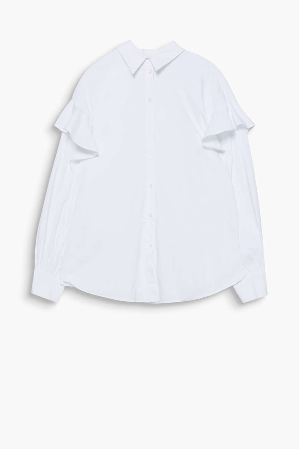 So feminine and smart at the same time: poplin blouse made of stretchy blended cotton with frilled sleeves