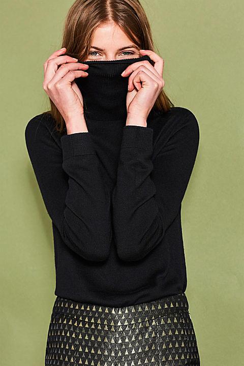 Rollkragen-Pullover mit Baumwolle