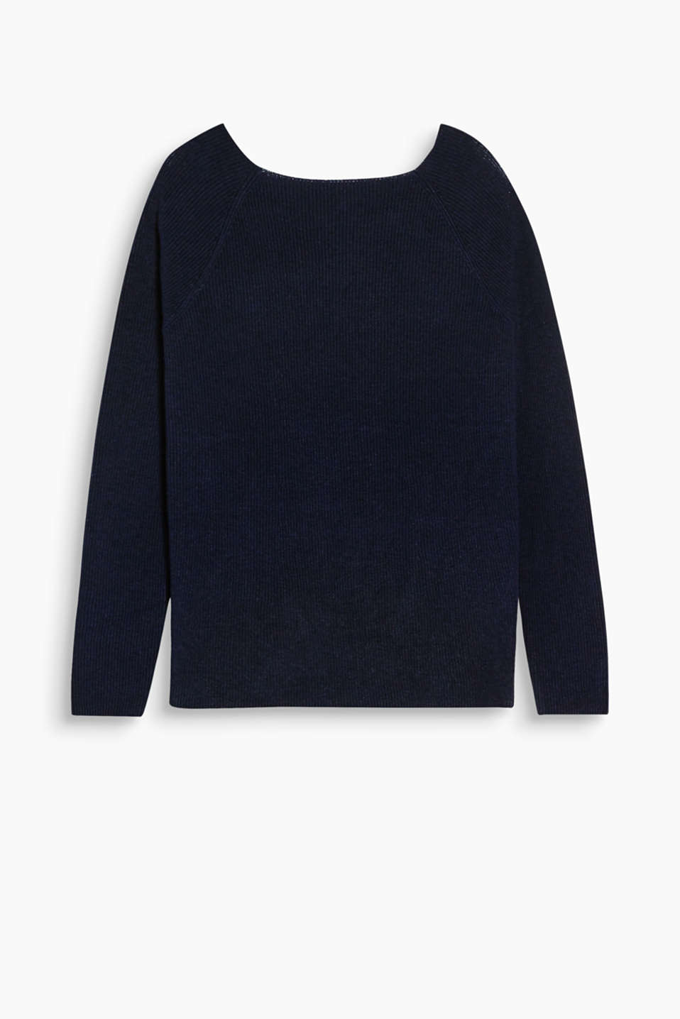 Relaxed favourite: rib knit jumper with a bateau neckline and high-quality wool