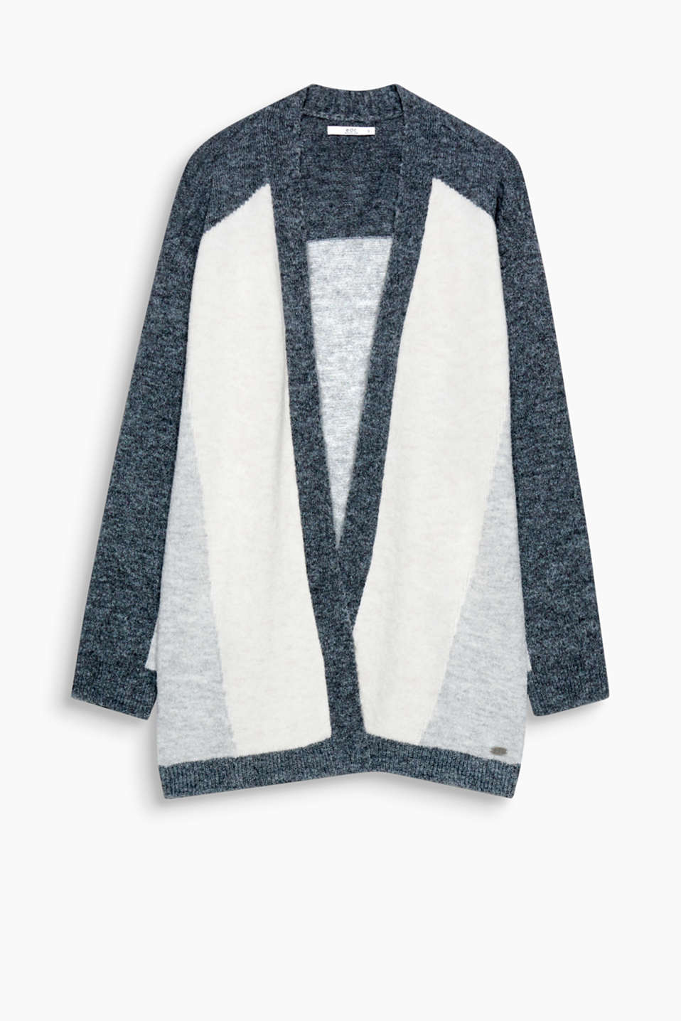 Geometric colour blocking makes this open, wool blend cardigan a real eye-catcher