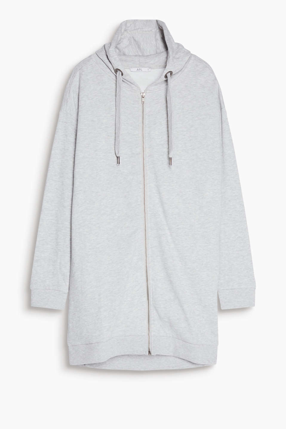 Sporty feel-good piece for relaxed everyday looks: long hooded sweatshirt jacket in blended cotton