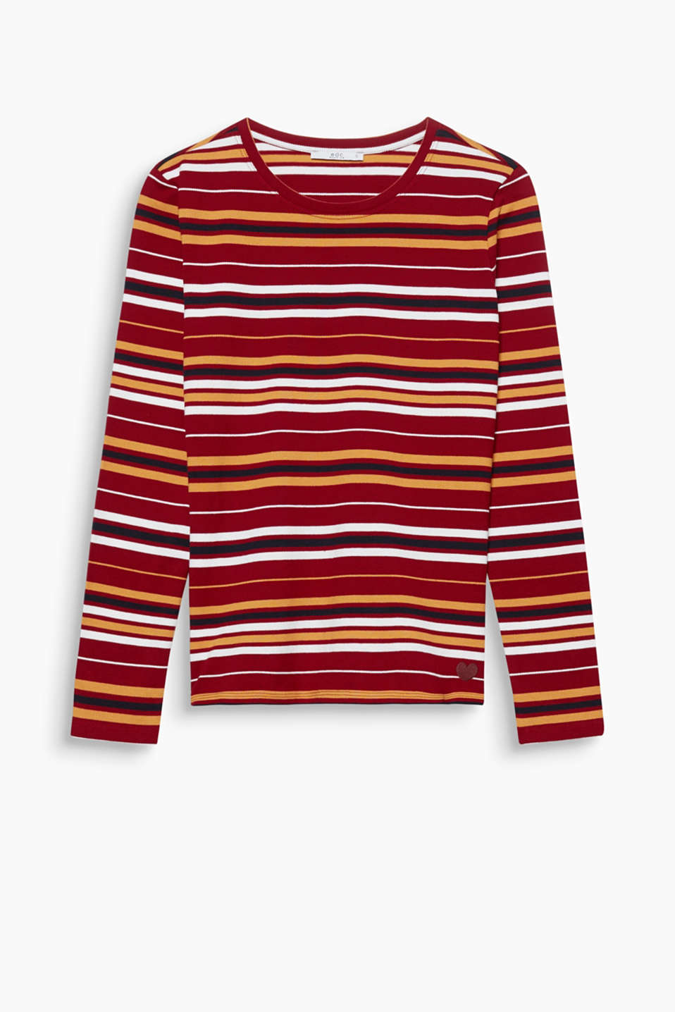 Long sleeve top made of pure cotton piqué with stripes in the very latest autumn colours