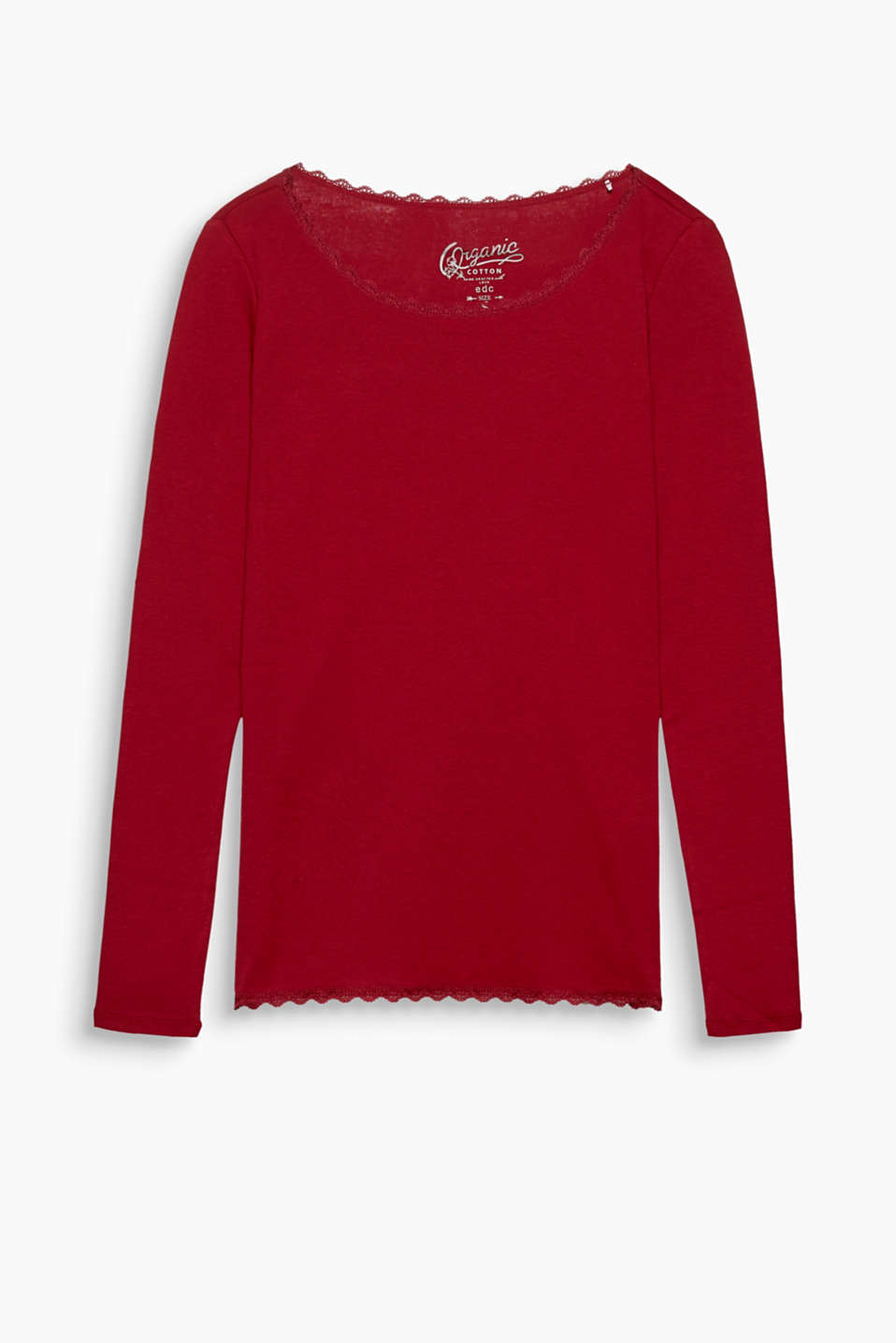 Refined basic: fitted long sleeve top with scalloped, delicate lace trims, 100% organic cotton