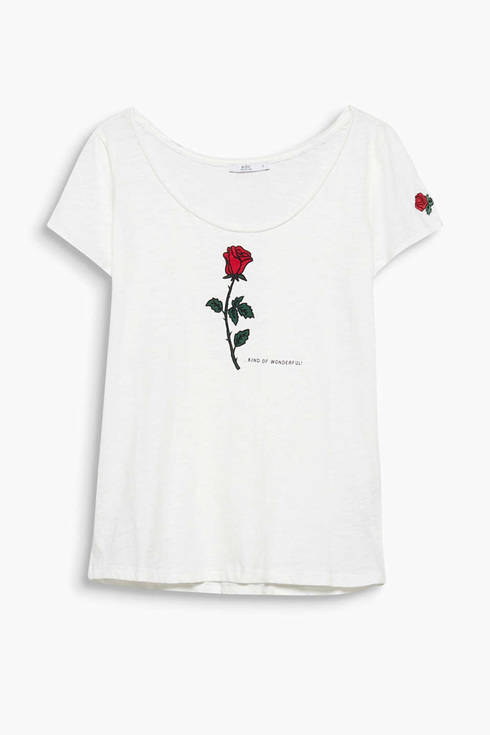 Casual design with a romantic twist: slub cotton T-shirt with decorative, printed and embroidered roses.