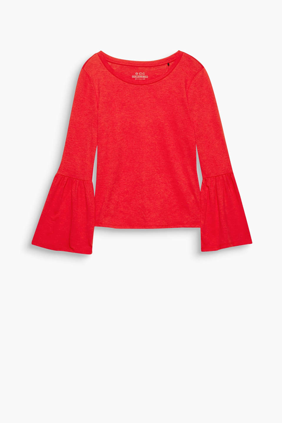 A modern basic with a feminine note: jersey long sleeve top with flared sleeves