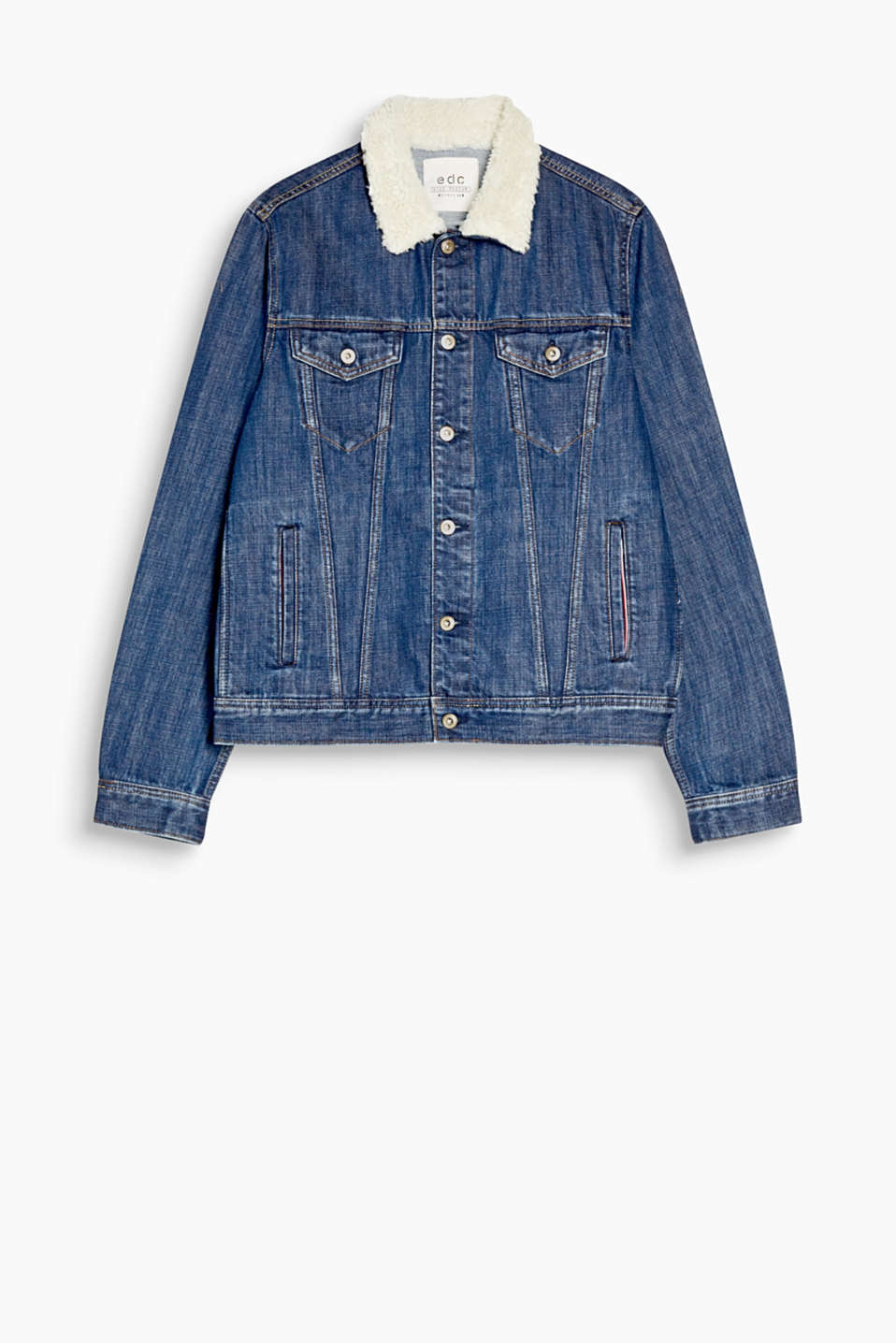 Modern urban style! This denim jacket impresses with its striking collar made of faux shearling.