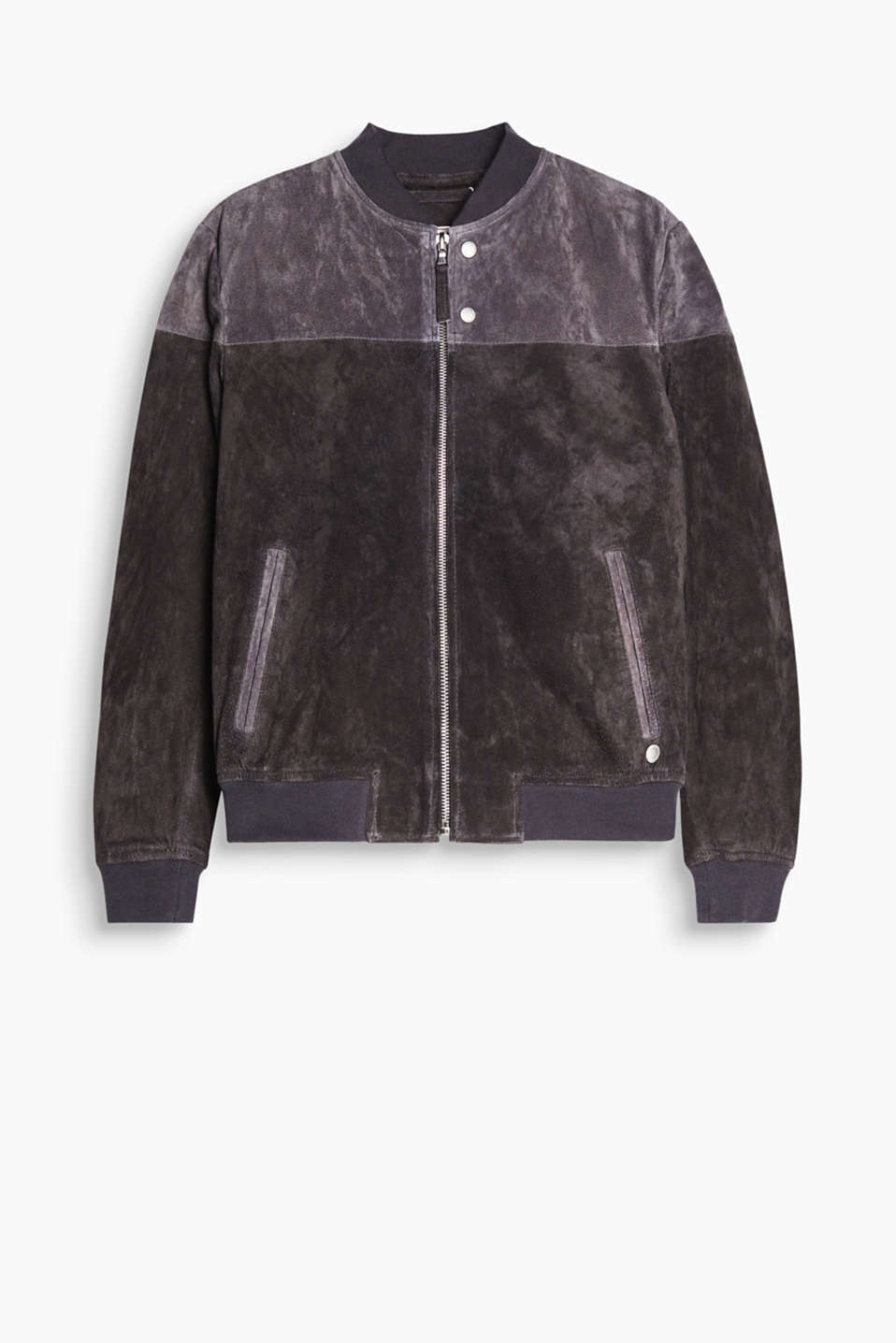 Sporty and sophisticated at the same time! This bomber jacket is distinguished by its premium pigskin leather