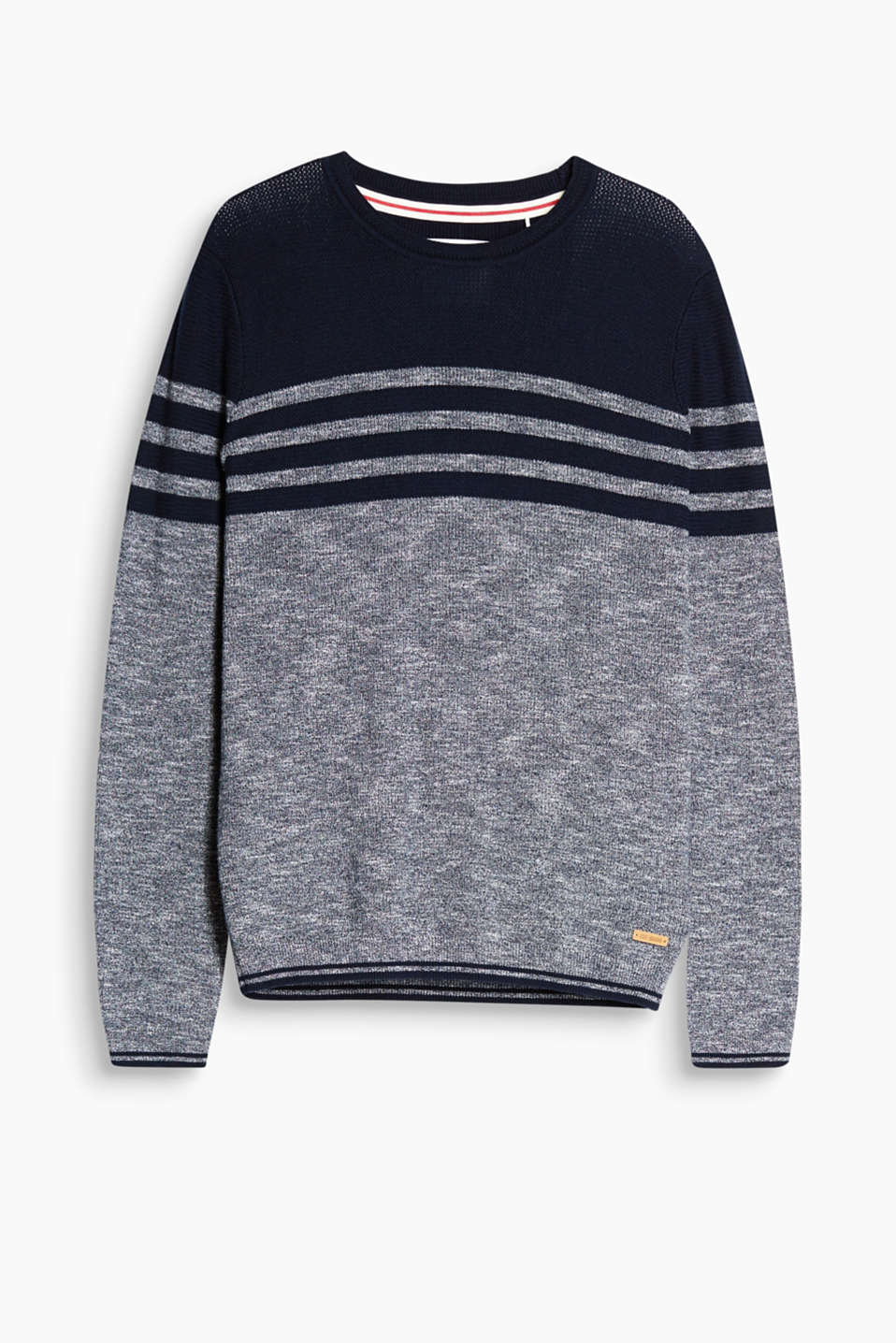 Sailor style! Alternating plain blocks of colour and stripes give this jumper its heartfelt vibe.