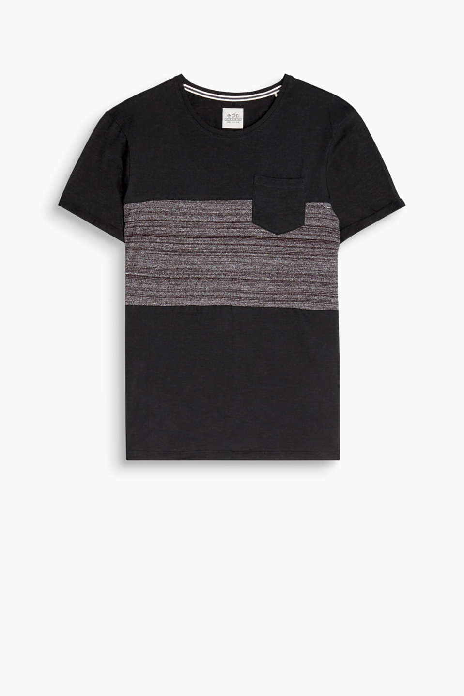 Texture mix! Block stripes in melange and slub jersey make this T-shirt a head-turning piece.