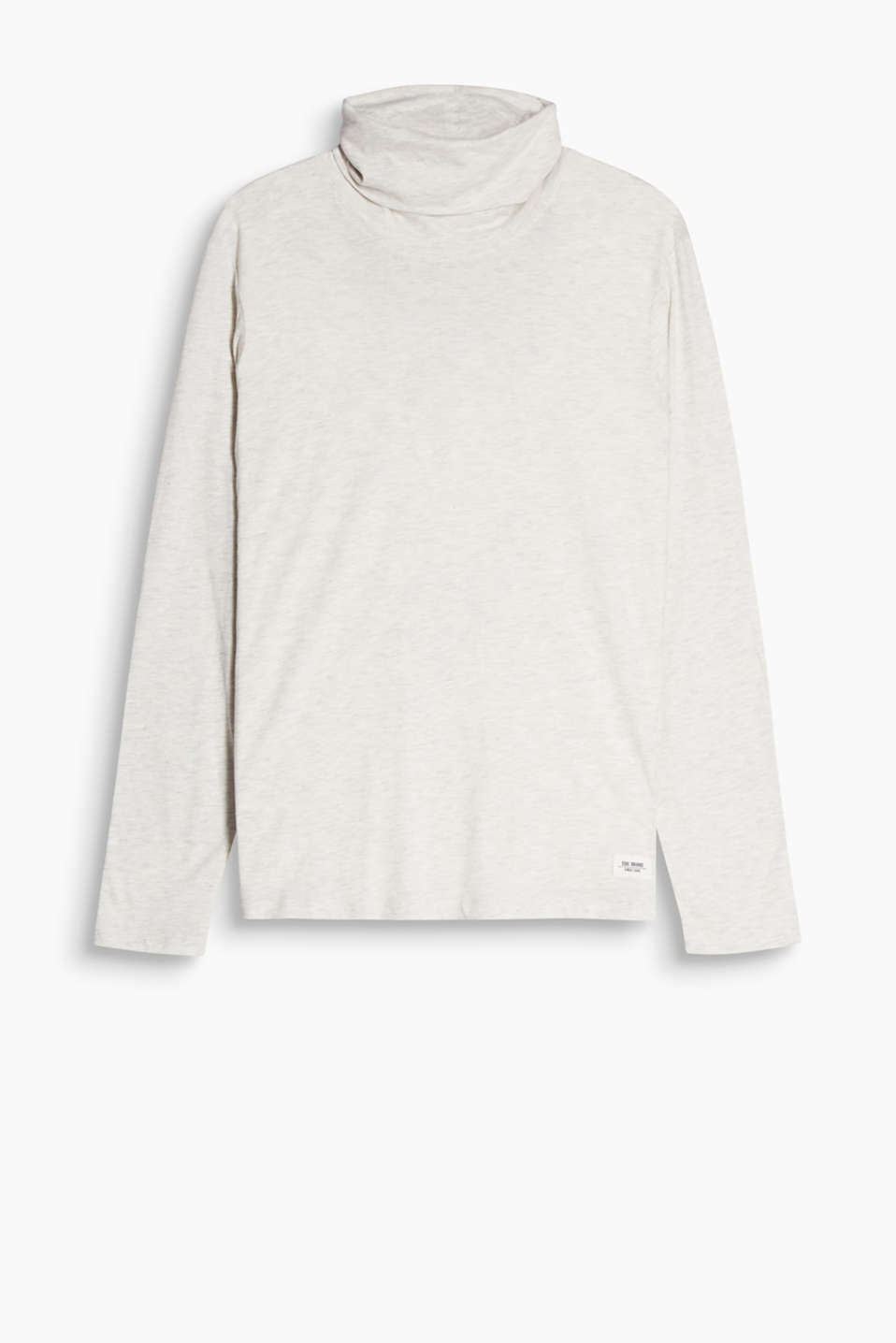 Your autumn essential: melange jersey long sleeve top in a loose fit with a polo neck, organic cotton blend