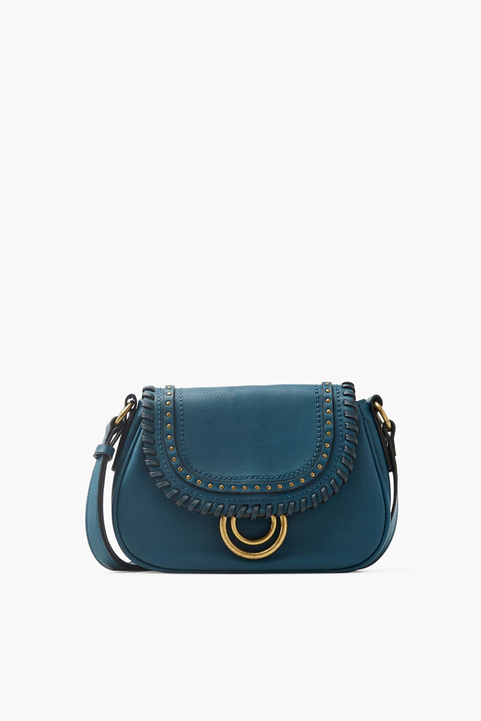Faux leather shoulder bag with decorative embellishments with on-trend vintage appeal