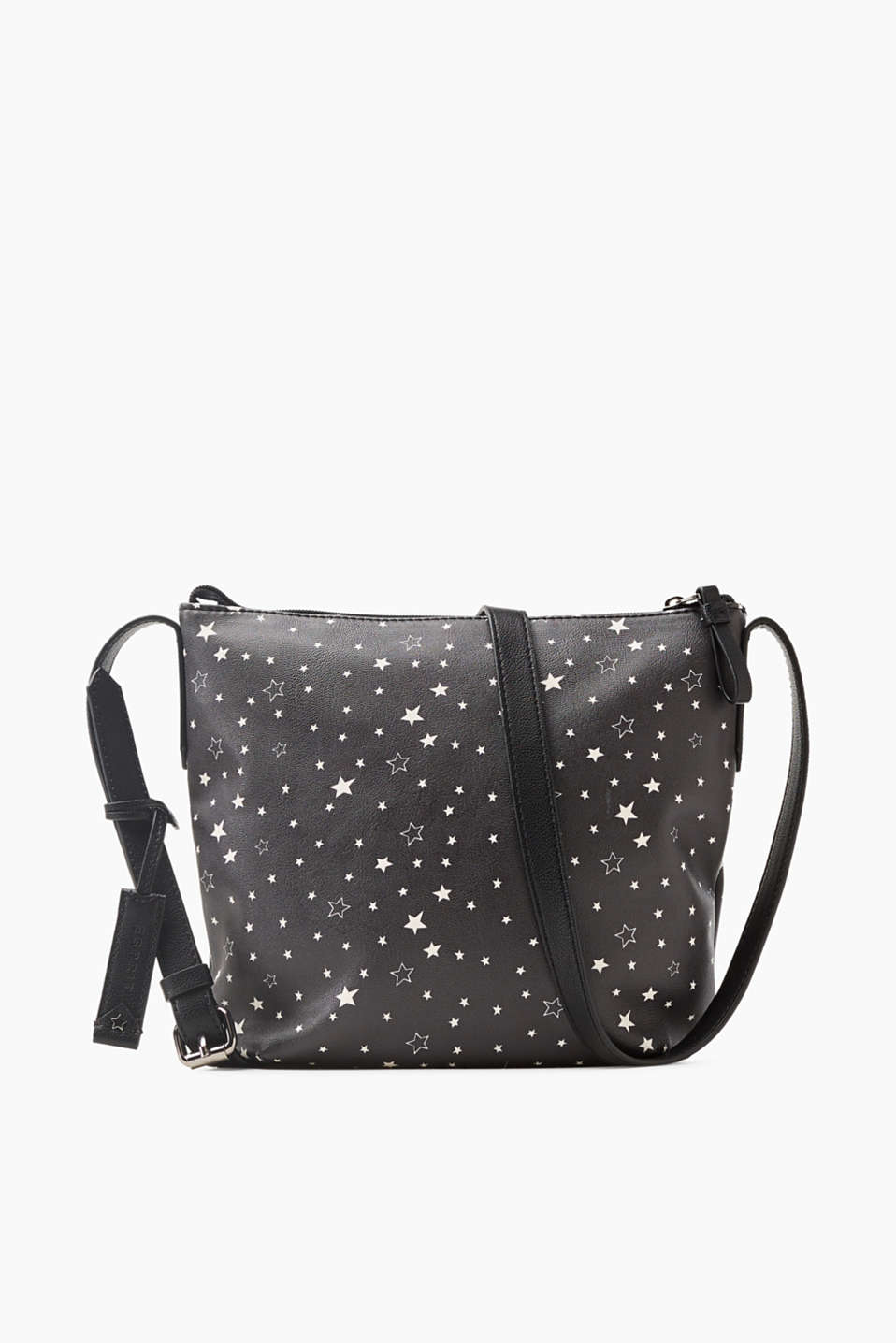 Written in the stars! This smooth faux leather shoulder bag features a large star print