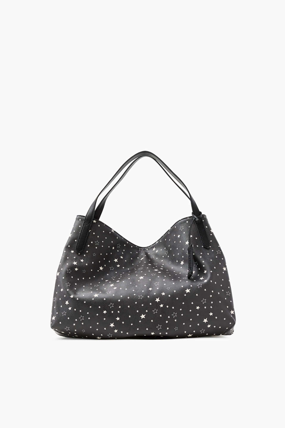 Written in the Stars! Stylischer Shopper in Glattleder-Optik mit Allover-Stern-Print