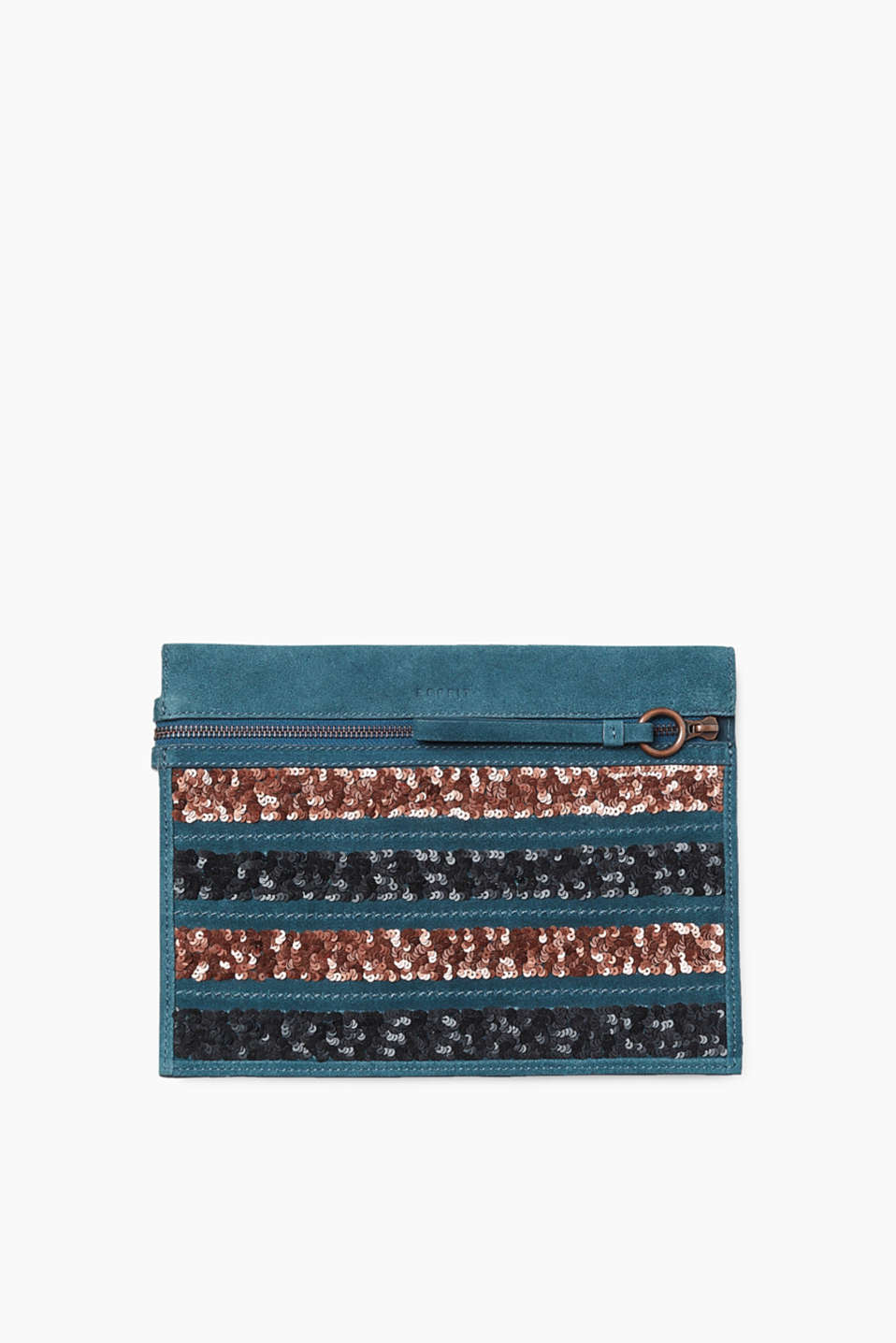 This flat shoulder bag in high-quality suede with sequinned stripes provides a touch of glamour