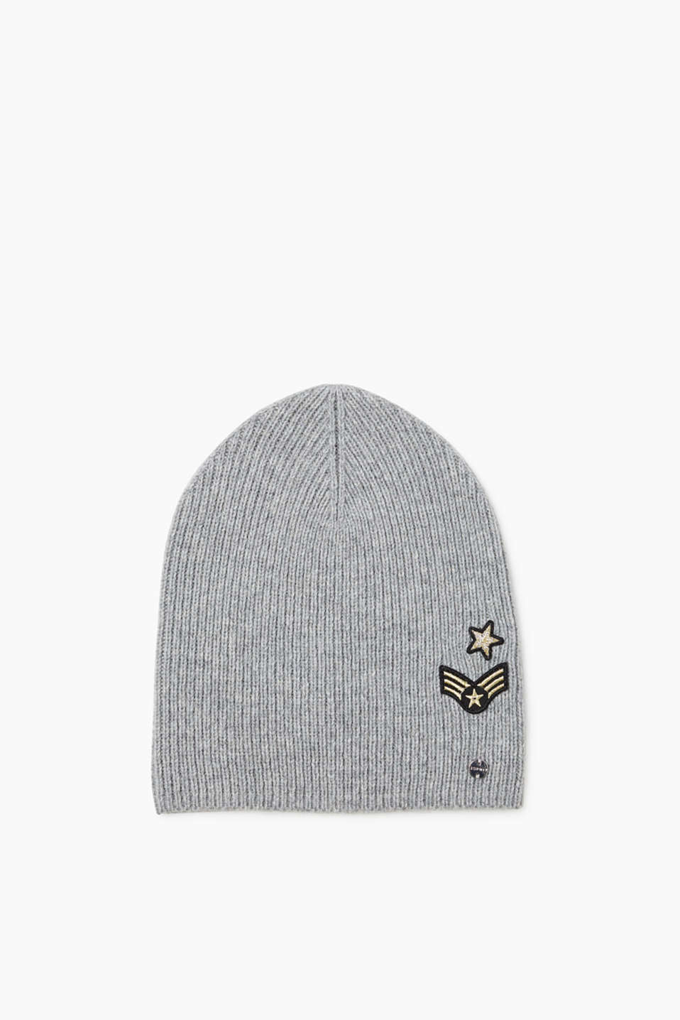 Warm and cool! Beanie with cool metallic patches made of rib knit yarn with wool and merino