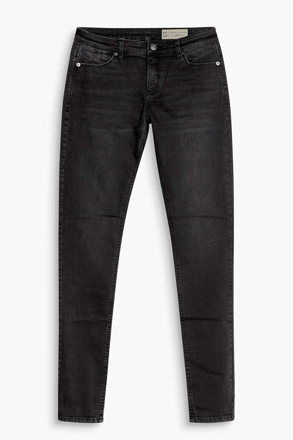 A pair of black jeans for your basics: stretch jeans in a slim cut with five pockets and wrinkled effects