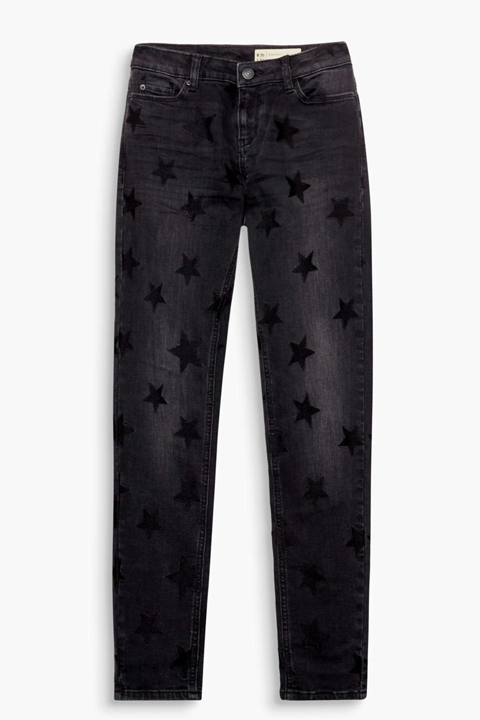 A denim star is born: stretch jeans with tonal, all-over embroidered stars in a skin-tight fit with five pockets