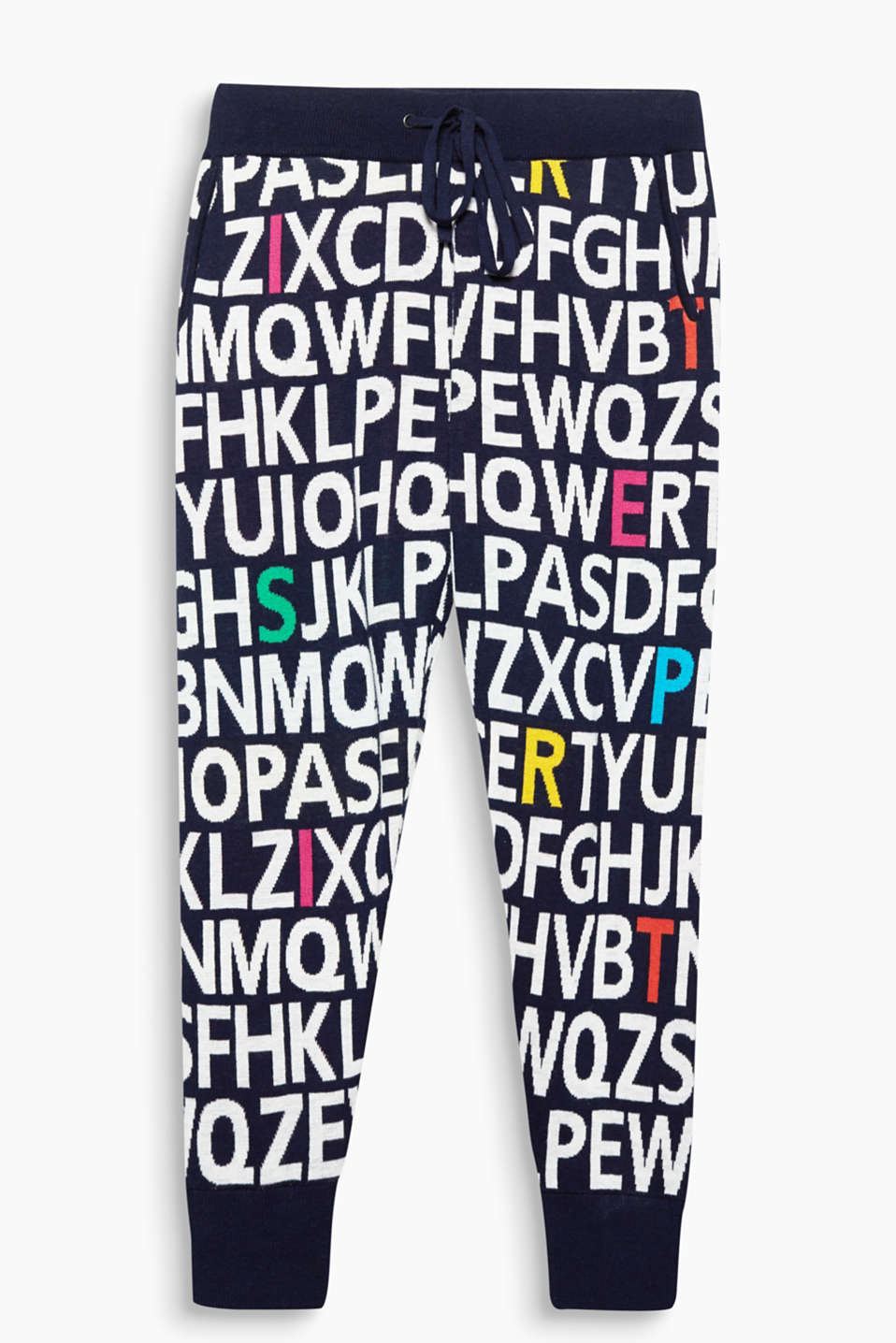 Feel good, look good, do good - tracksuit bottoms made of double-faced yarn with intarsia letters