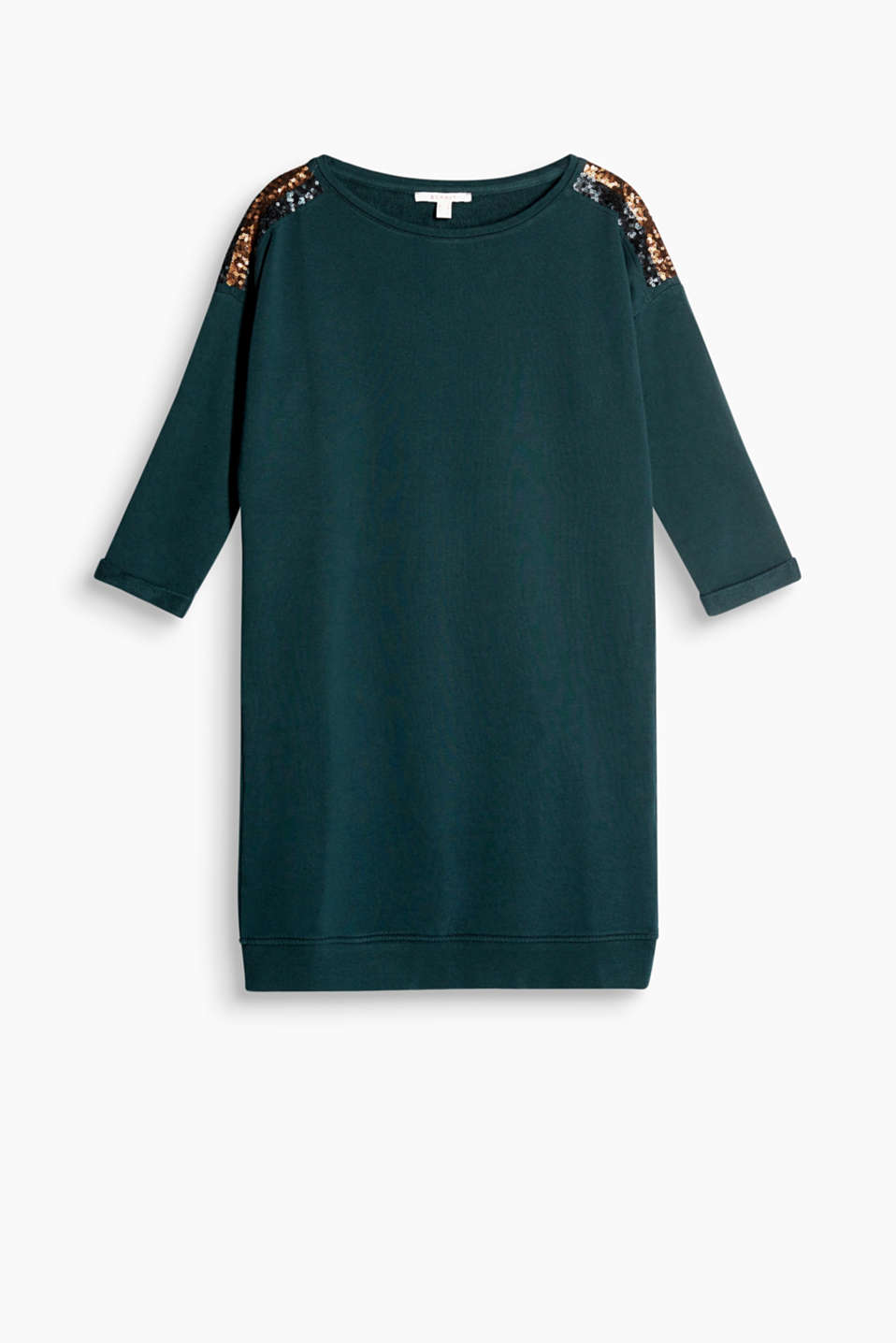 Sporty during the day, glamorous at night: Sweatshirt dress with shimmering sequinned shoulders