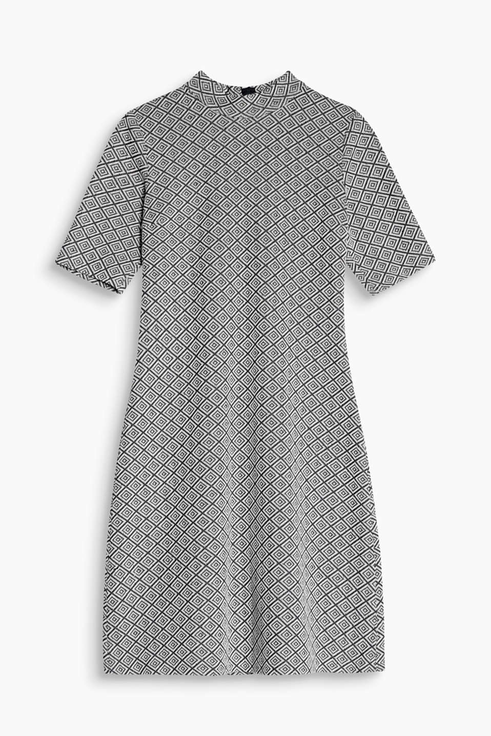 Ravishingly retro diamond pattern: jacquard jersey dress with a stand-up collar and flared skirt, blended cotton