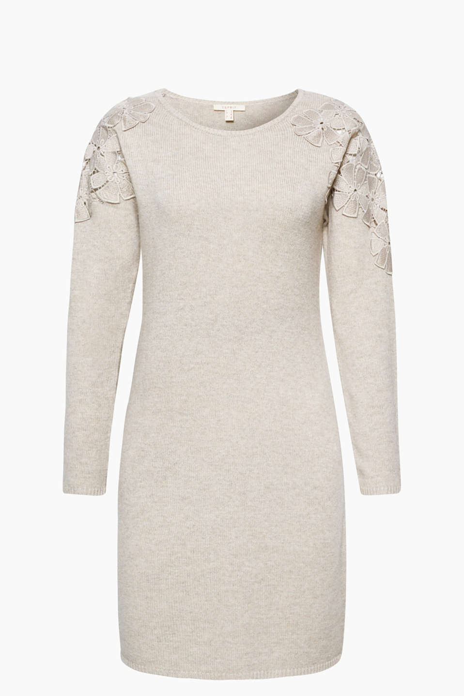 This soft knitted dress with appliquéd, semi-sheer flowers will give you great shoulders!
