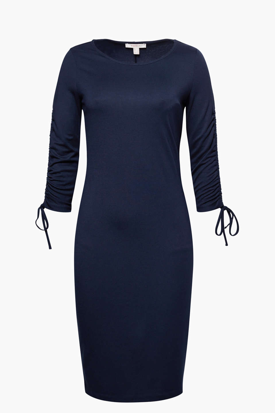 This feminine dress in dense stretch jersey with three-quarter length sleeves has feminine gathers