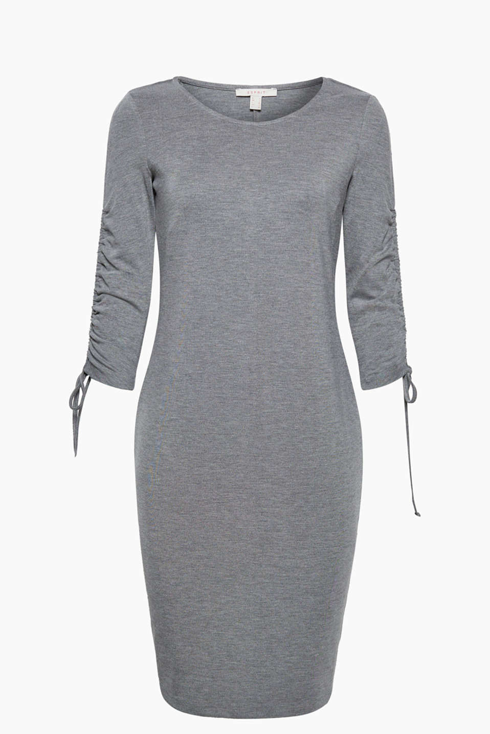 This comfortable shift dress in melange stretch jersey with gathered sleeves has a comfy style with a couture touch