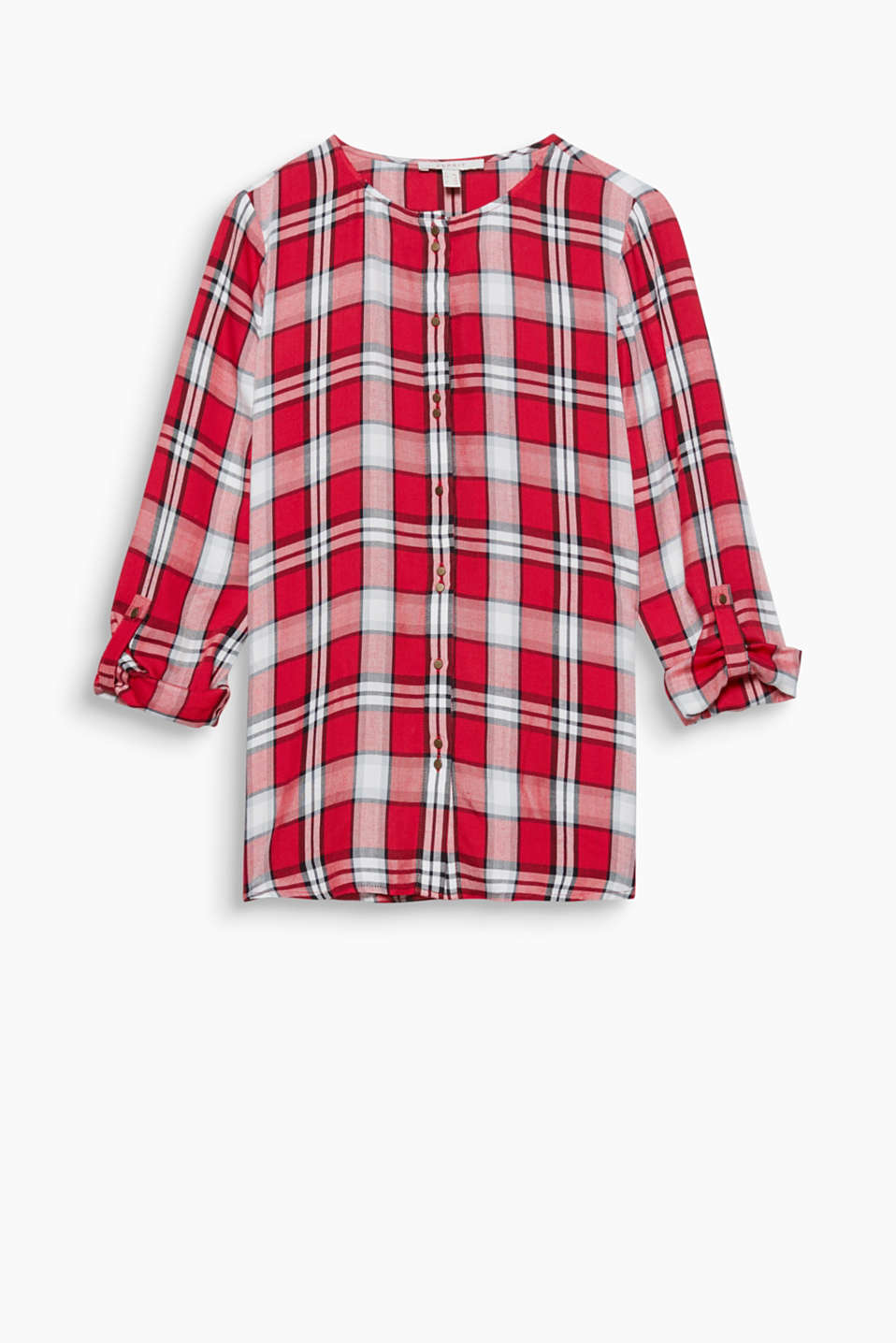 This flowing check blouse with a round neckline and turn-up sleeves is always perfect with jeans and stretch trousers