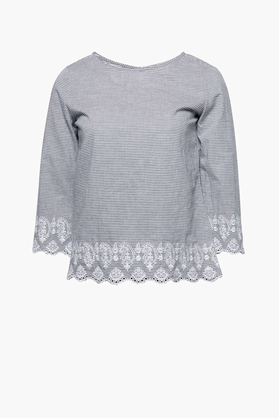 A blouse with favourite-piece potential: finely striped and slightly fitted with floral embroidery on pure cotton!