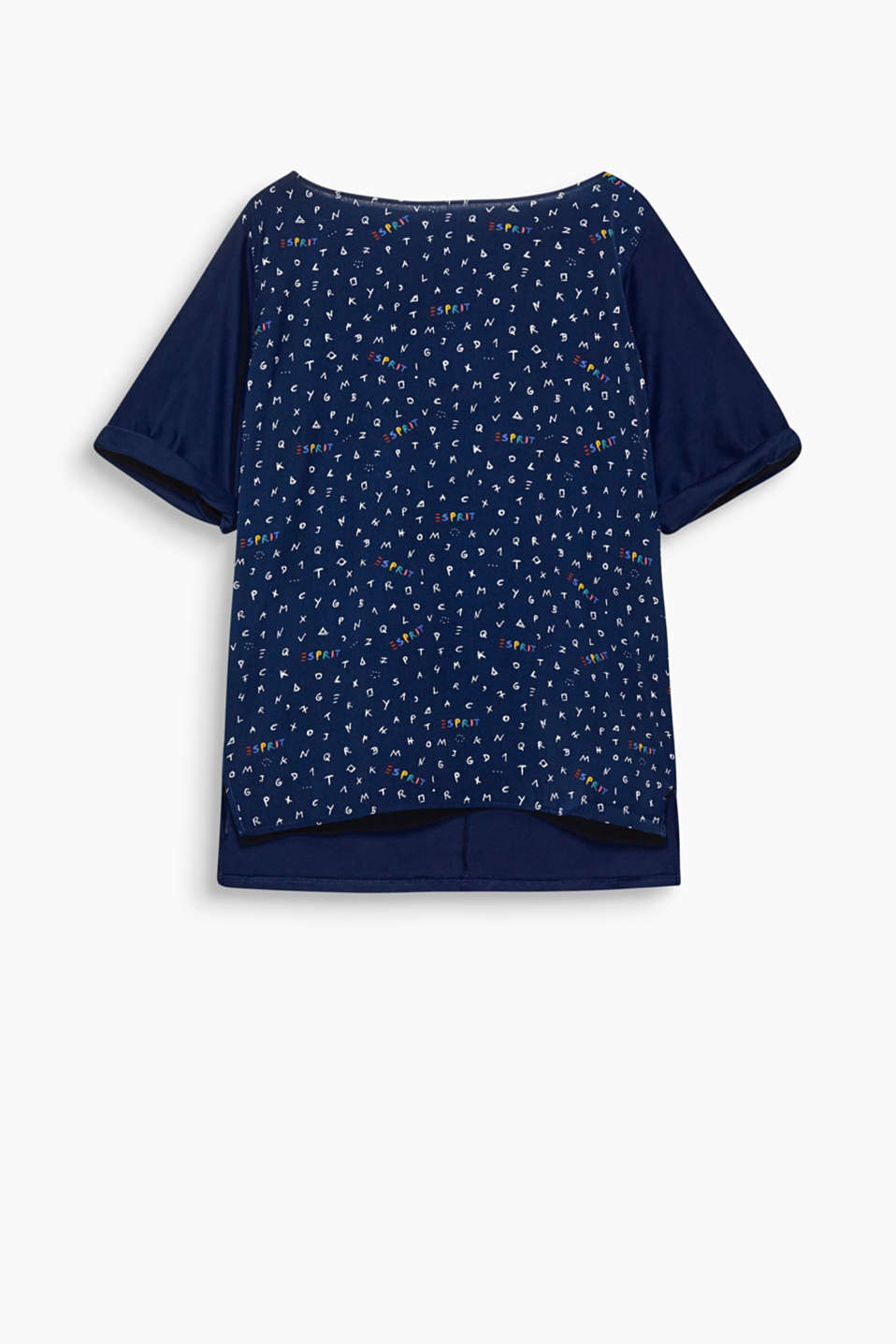 Feel good, look good, do good - Mit Wohlfühl-Garantie: oversized Blusen-Shirt mit Print aus recyceltem Material-Mix!