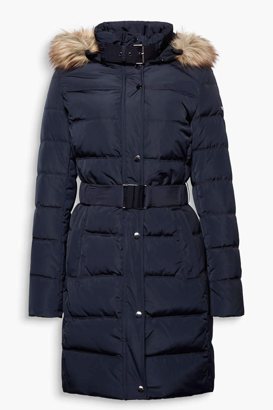 Functional and feminine: maxi-coat with an RDS-certified down/feather filling and detachable faux-fur hood.
