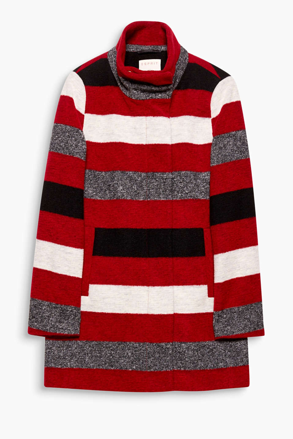 Coat with stunning stripes and a beautiful band collar - awesome autumn outerwear made of light blended wool!